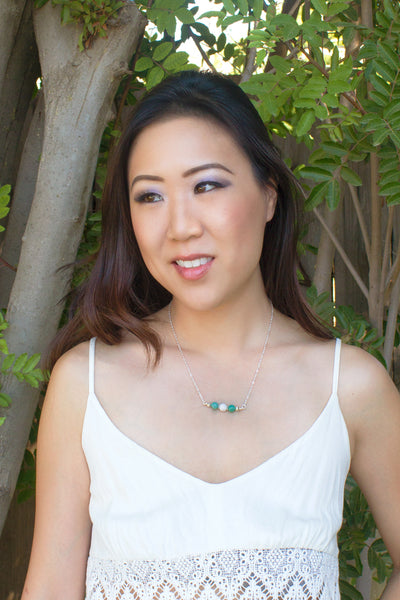 amazonite and white lava necklace modeled