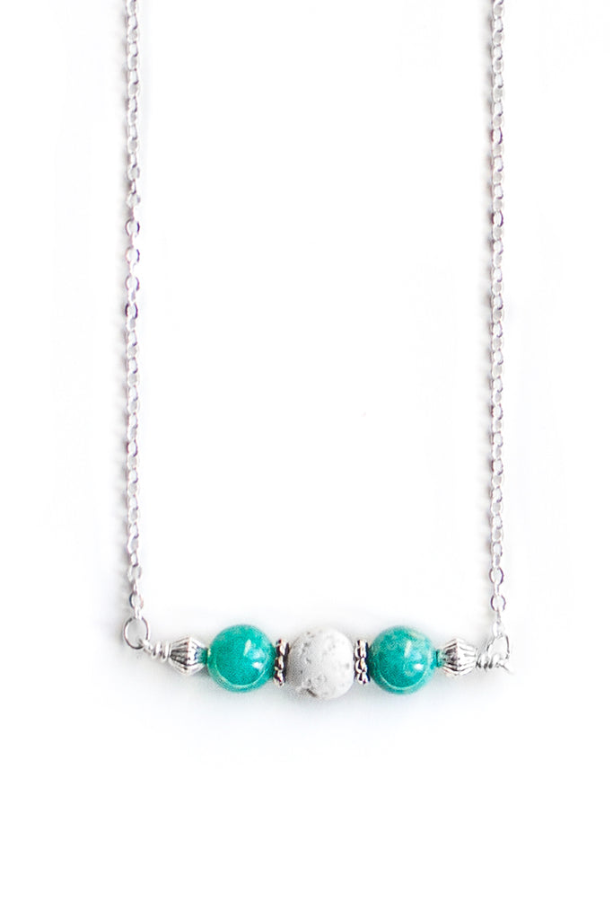 Amazonite and White Lava Necklace