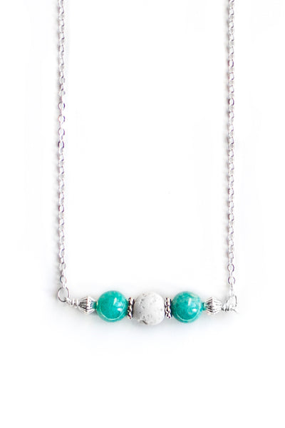 Amazonite and White Lava Necklace - 100 Graces