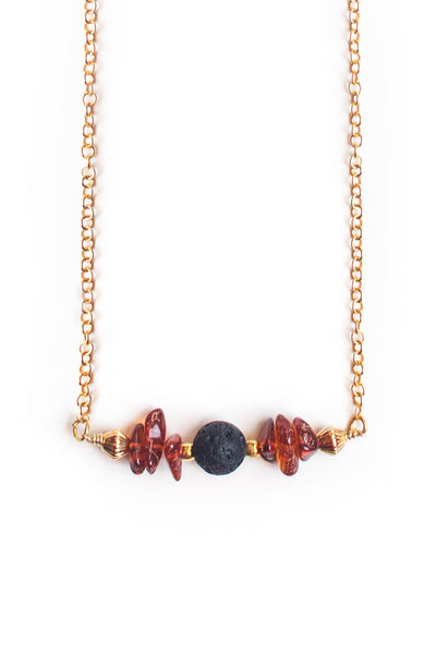 Amber and Lava Stone Necklace - 100 Graces