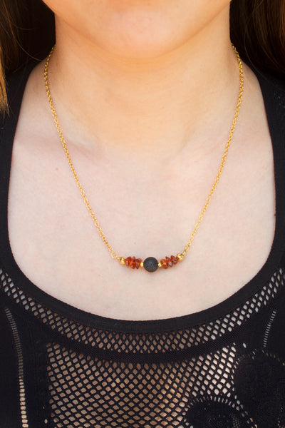 model amber and lava stone necklace