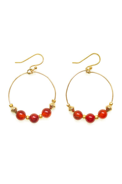 Carnelian Hoop Earrings - 100 Graces