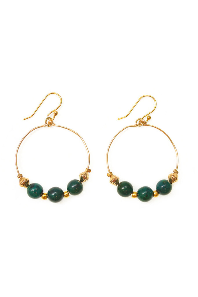 Chrysocolla Hoop Earrings - 100 Graces