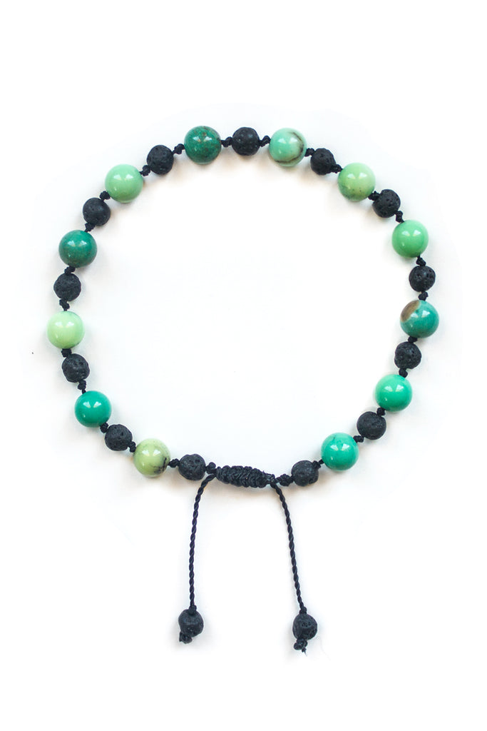 Chrysoprase and Lava Stone Bracelet