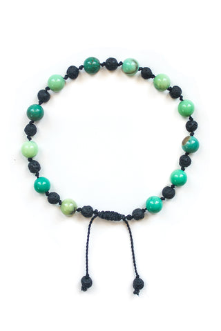 Chrysoprase and Lava Stone Bracelet - 100 Graces