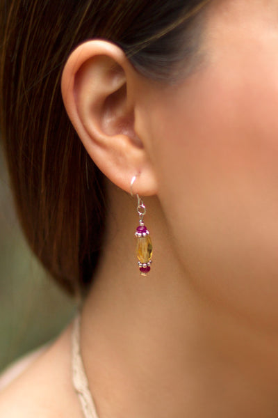 Citrine and Ruby Dangle Earrings - 100 Graces