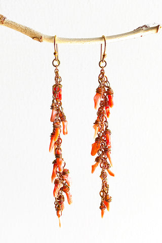 Coral Spark Earrings