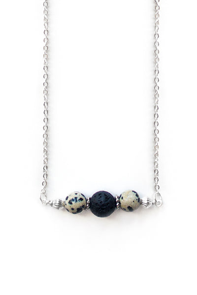 Dalmatian Jasper and Lava Stone Necklace