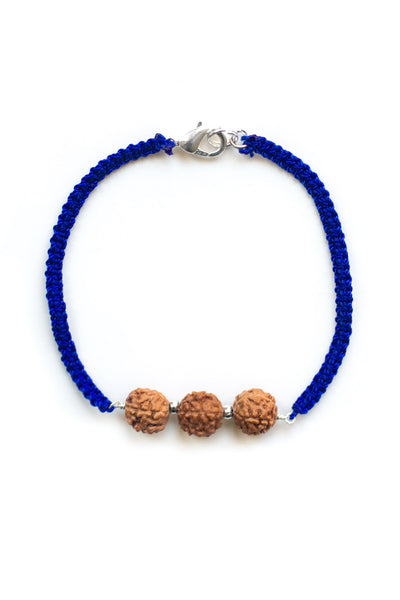 Blue Triple Bodhi Seed Diffuser Bracelet - 100 Graces