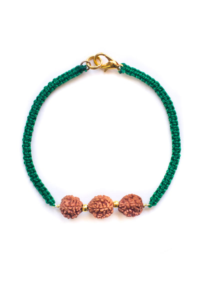 Green Triple Bodhi Seed Diffuser Bracelet - 100 Graces