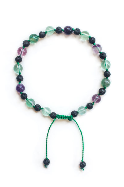 Fluorite and Lava Stone Bracelet - 100 Graces