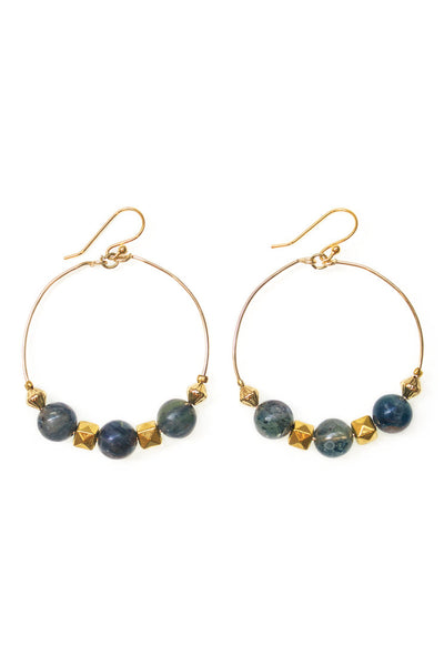 Kyanite Hoop Earrings, Gold - 100 Graces