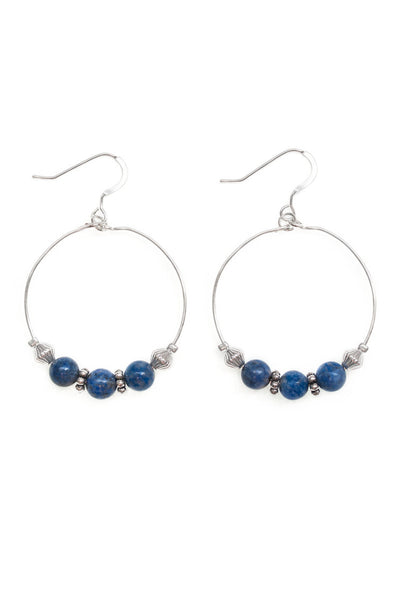 Lapis Lazuli Hoop Earrings - 100 Graces