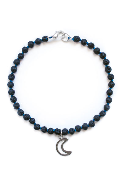 Lava Stone and Moon Charm Bracelet