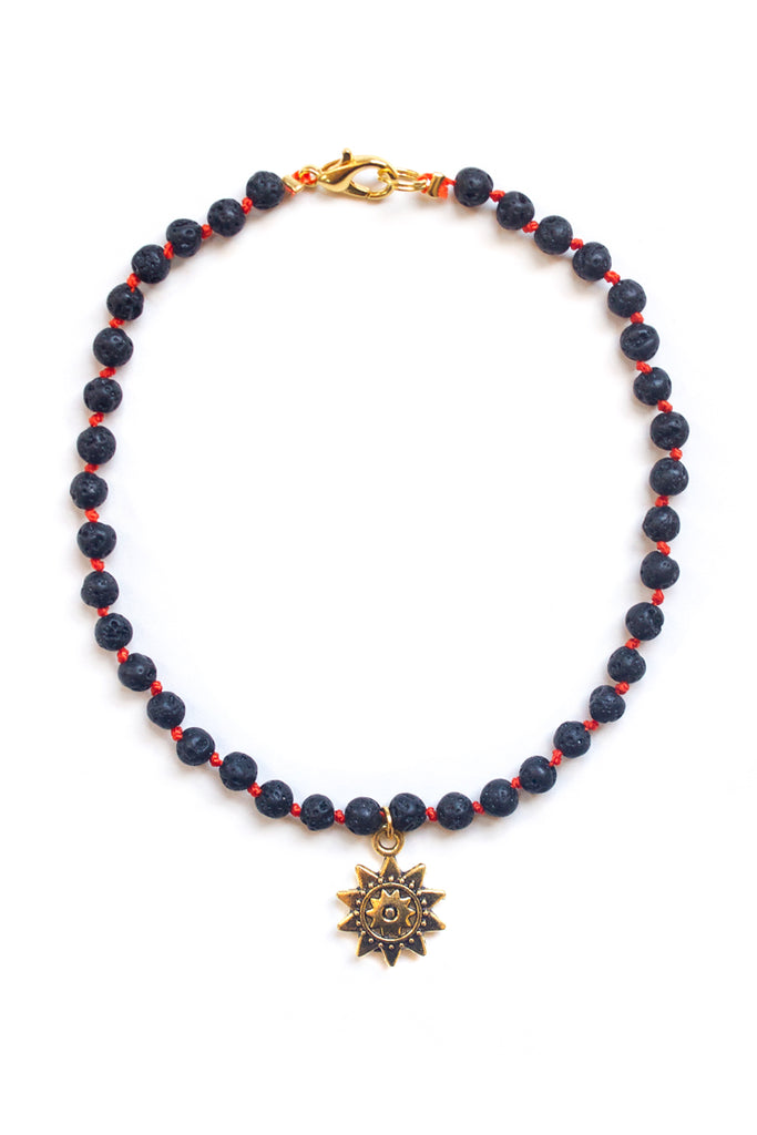 Lava Stone and Sun Charm Anklet