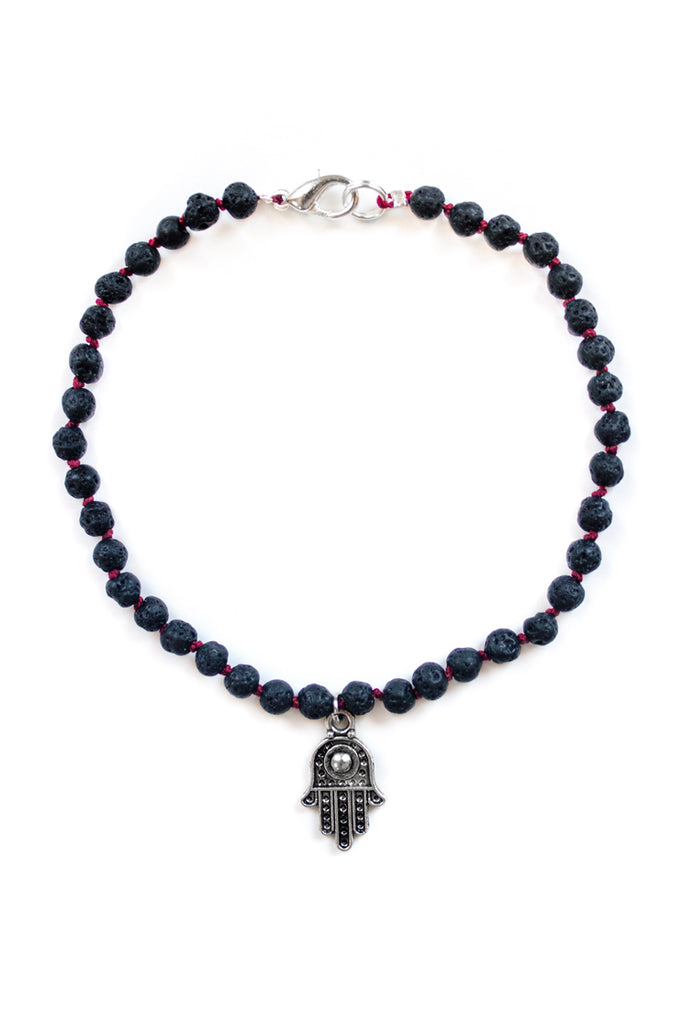 Lava Stone and Hamsa Charm Anklet - 100 Graces