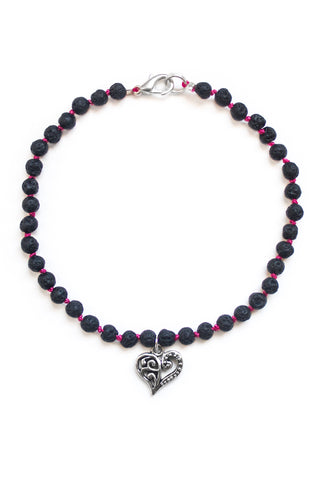Lava Stone and Heart Charm Bracelet