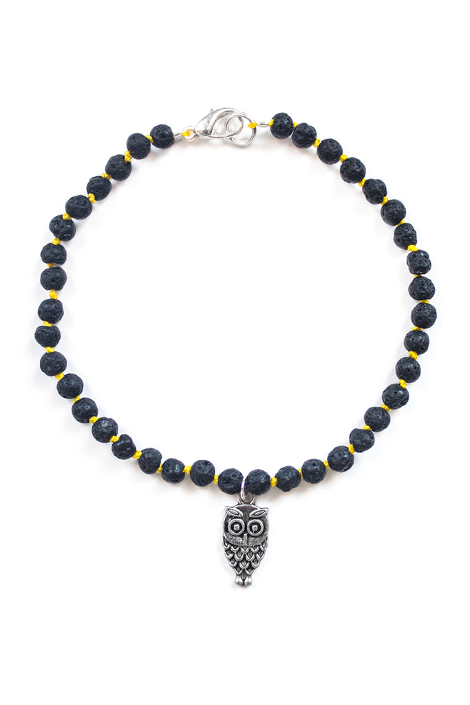 Lava Stone and Owl Charm Anklet - 100 Graces