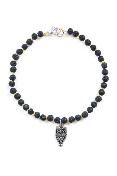Lava Stone and Owl Charm Bracelet - 100 Graces
