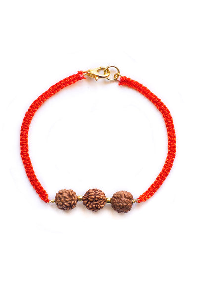 Orange Triple Bodhi Seed Diffuser Bracelet - 100 Graces