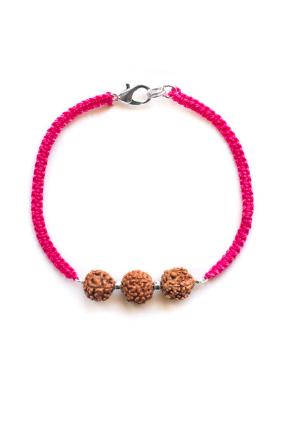 Triple Bodhi Seed Diffuser Bracelet Pink - 100 Graces