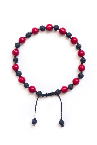 Red Coral and Lava Stone Bracelet - 100 Graces
