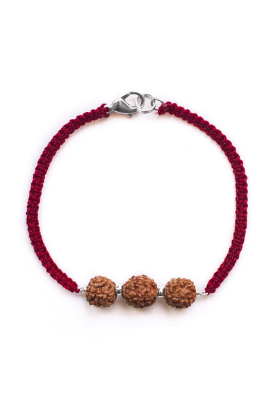 Red triple bodhi seed woven essential oil diffuser bracelet