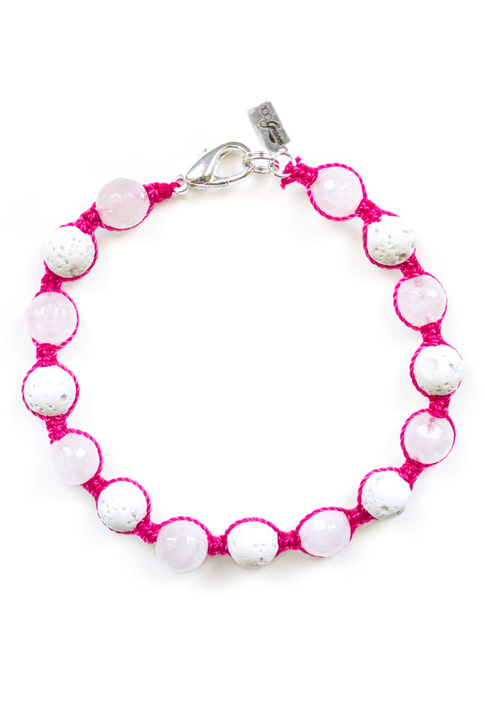 Rose Quartz and White Lava Stone Bracelet - 100 Graces