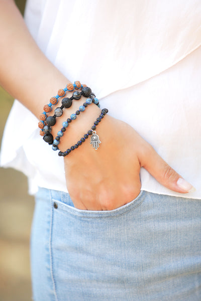 Denim Lapis and Lava Stone Bracelet
