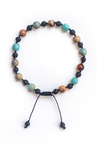 Snakeskin Jasper and Lava Stone Bracelet, Black - 100 Graces