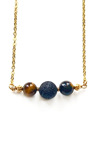 Tiger Eye and Lava Stone Necklace