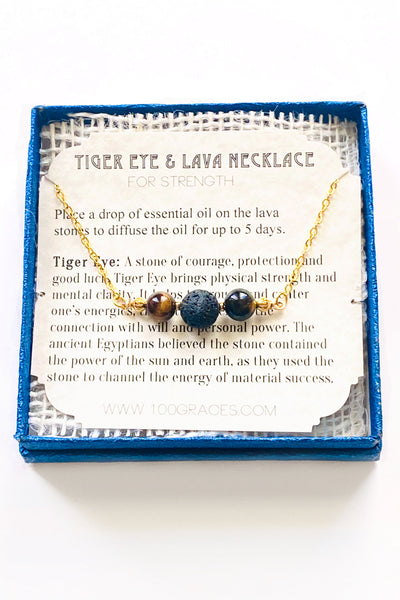 Tiger Eye and Lava Stone Necklace - 100 Graces
