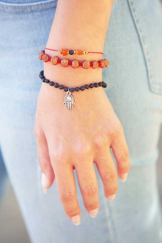 Lava Stone and Hamsa Charm Bracelet - 100 Graces