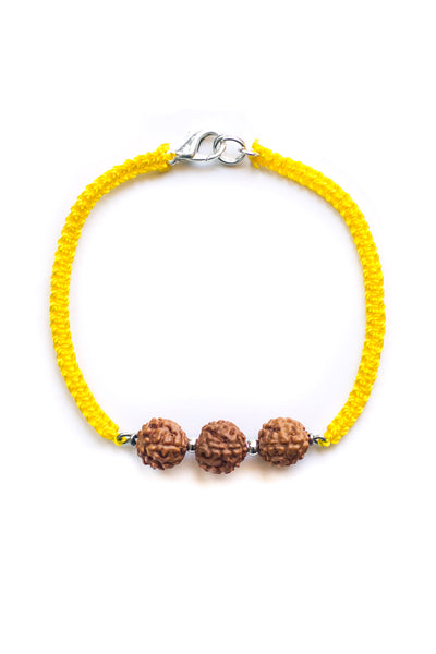 yellow triple bodhi seed woven essential oil bracelet