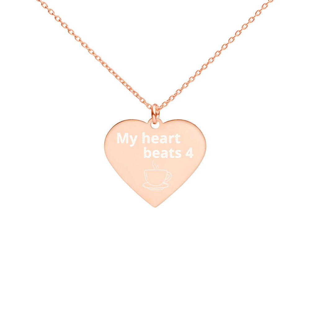 For The Coffee Lover - Engraved Silver Heart Necklace (My heart beats 4 coffee)