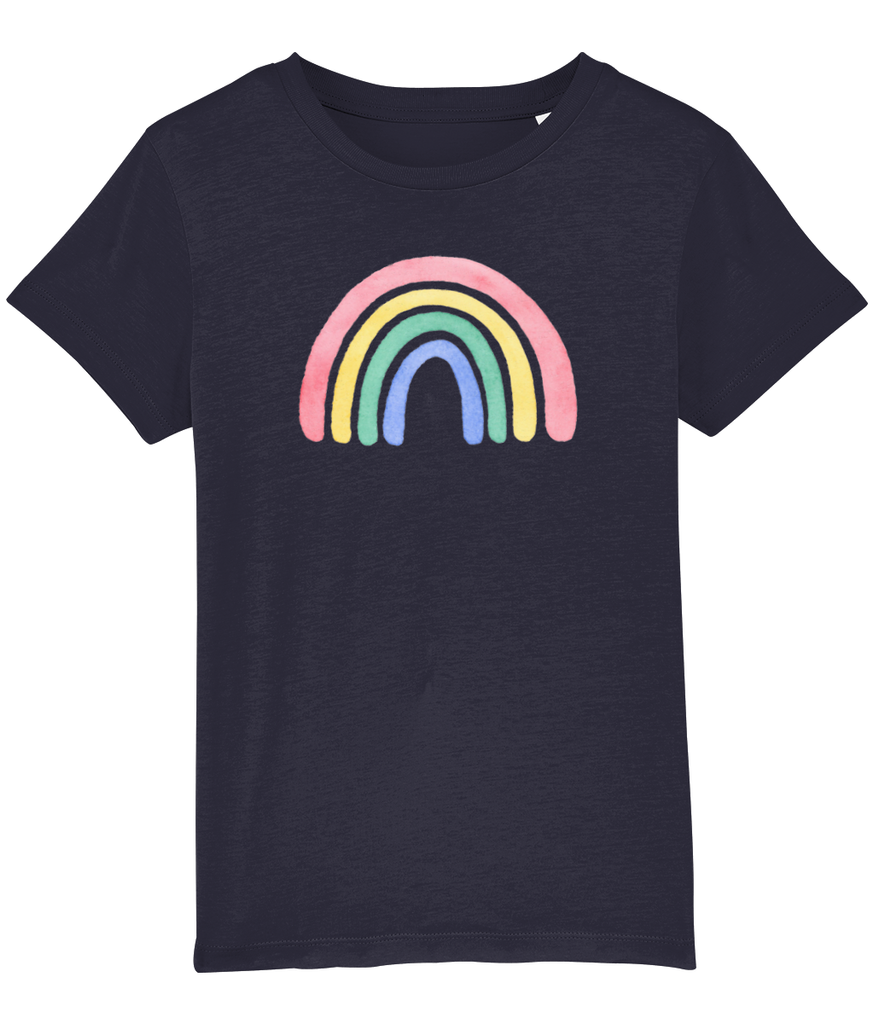 french navy watercolour rainbow t shirt