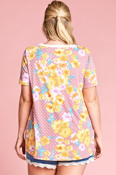Mauve Polkadot Floral Twist Front Plus Top