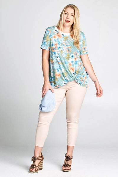 Sage Polkadot Floral Twist Front Plus Top
