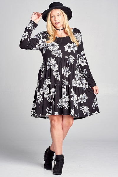 So Sweetly Black Floral Tiered Plus Dress