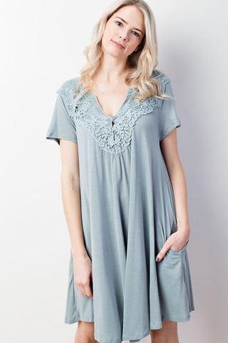 Casual Romance Sage Green Knit & Lace Dress