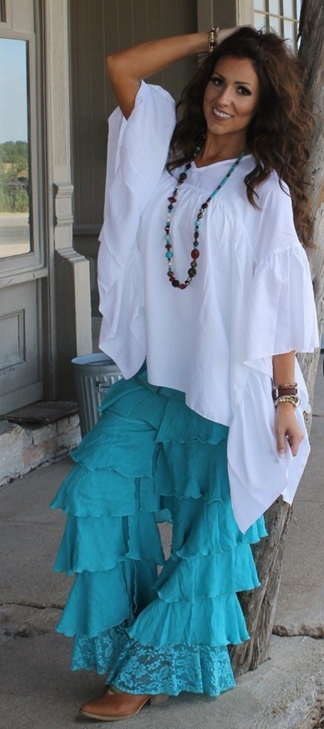 Boho Gypsy Teal Ruffle Tiered Lace Hem Pants