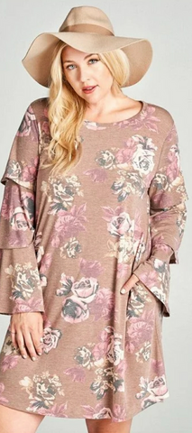 Retro Babe Melange Cinnamon Floral Bell Sleeves Plus Dress