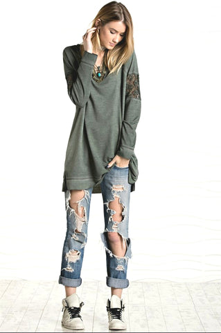 Look Away Lace Acid Wash Army Green Pullover