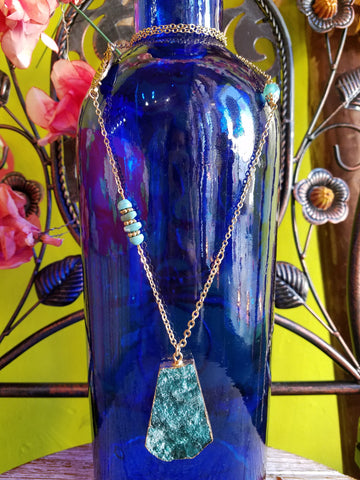 Paradise Teal Quartz Charm Necklace