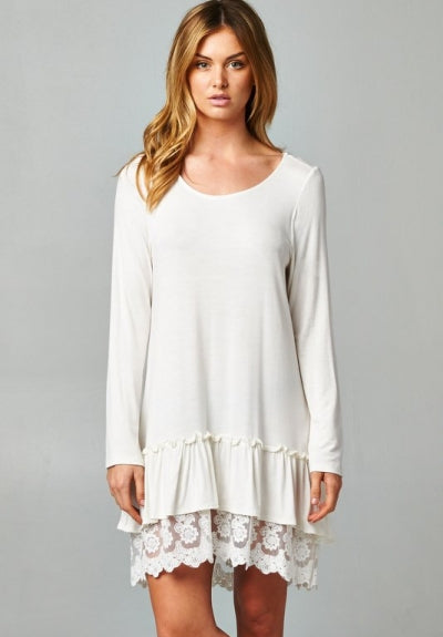 Ruffle Love & Lace Ivory Layered Tunic Dress