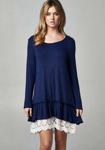 Ruffle Love & Lace Navy Layered Tunic Dress