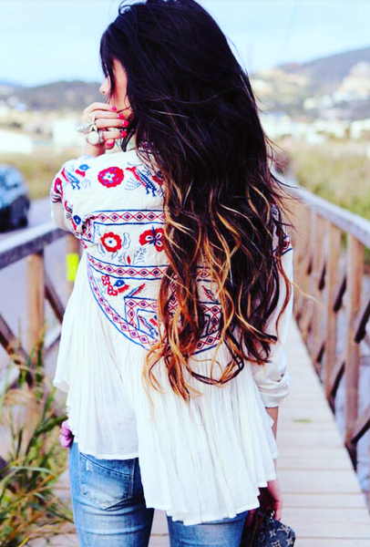 Nomad Dreams Embroidered Swing Boho Jacket