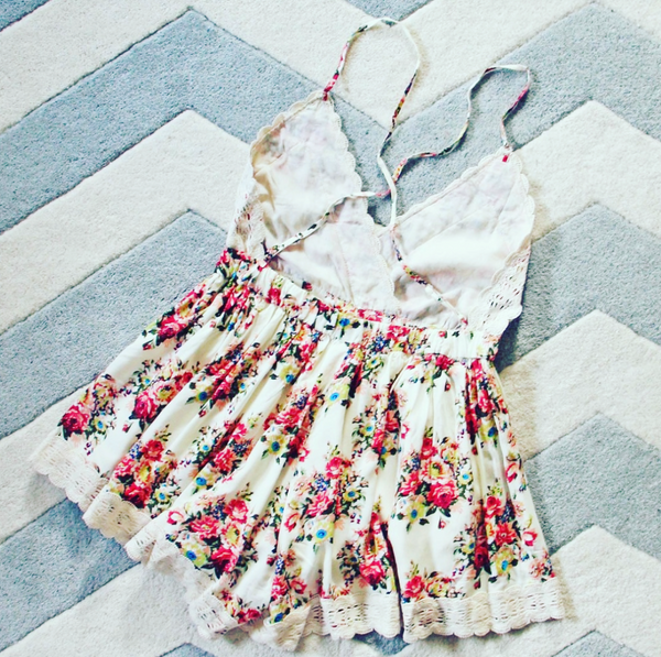 Cream Buffalo Rose Floral Boho Romper