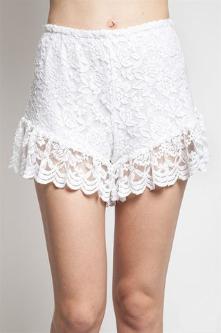 To The Limit White Lace Shortie Shorts
