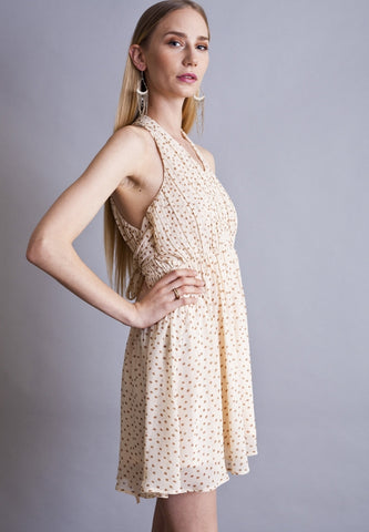 Dreamer Polkadot Retro Vintage Beige Dress